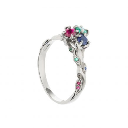 18ct white gold emerald, ruby and sapphire cluster Rose and Thorn engagement ring