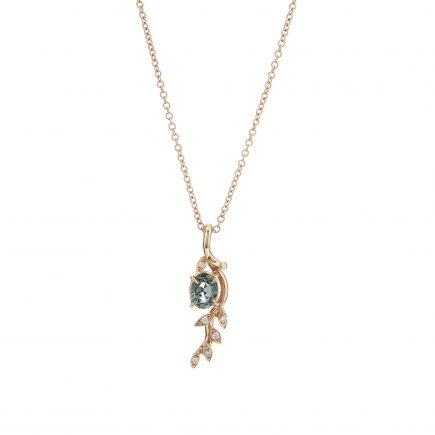 18ct rose gold and green sapphire Rose and Thorn pendant