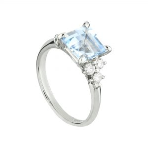 18ct White Gold Coco Aquamarine and Diamond Cocktail Ring