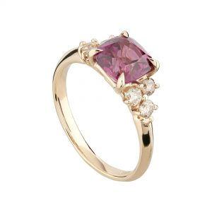 18ct rose gold, garnet and champagne diamond Coco cocktail ring