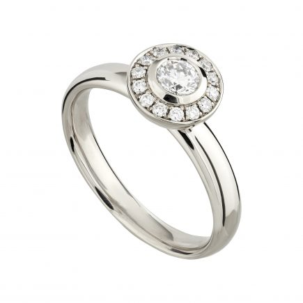 18ct white gold and white diamond mini Concentric halo ring