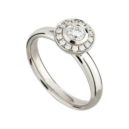 18ct white gold and white diamond mini Concentric halo ring