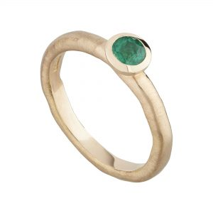 18ct rose gold and Emerald fine Molten ring
