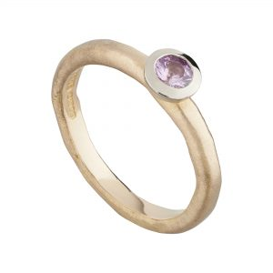 18ct rose gold and pink sapphire fine Molten engagement ring