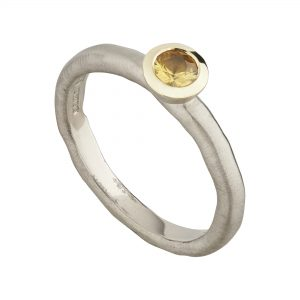 18ct white gold and yellow sapphire fine Molten engagement ring