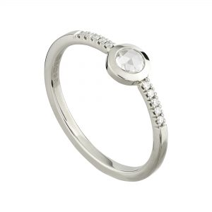 18ct white gold and round rose-cut diamond engagement ring