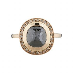 18ct rose gold and rose-cut black diamond and champagne diamond Halo ring