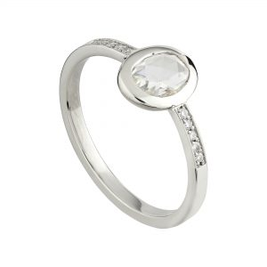 18ct white gold and oval rose-cut diamond engagement ring