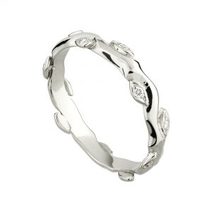 18ct white gold and white diamond Rose and Thorn wedding ring