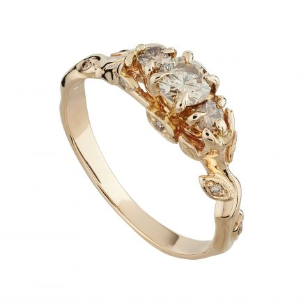 18ct rose gold and champagne diamond Rose and thorn trilogy ring