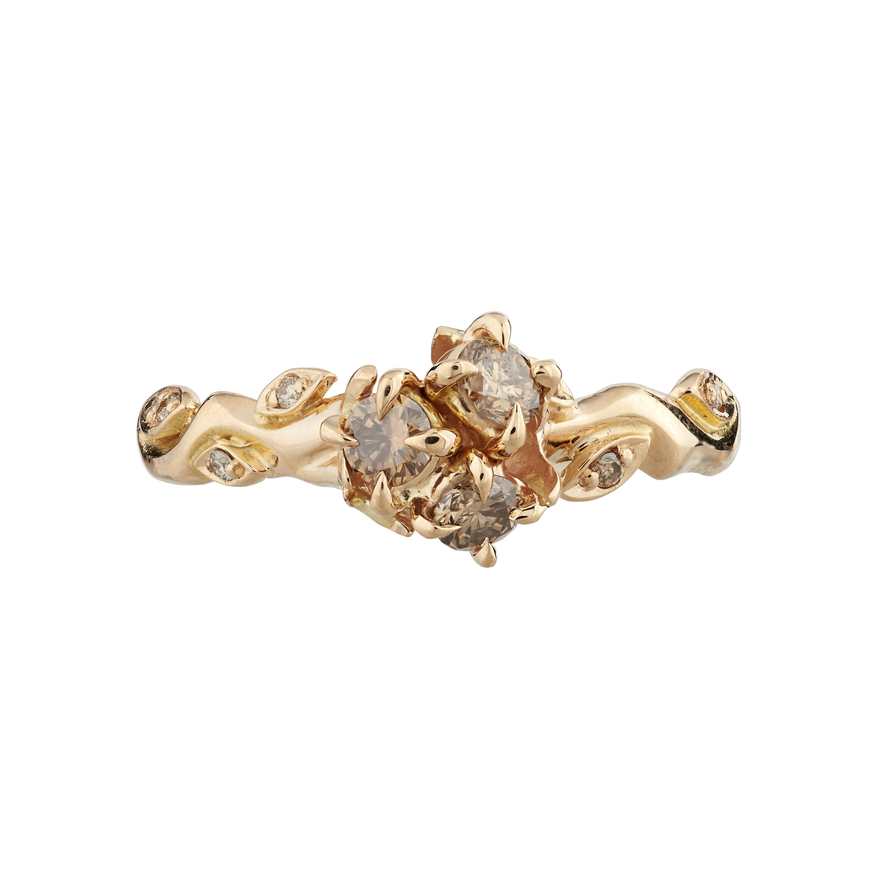 611806c378457 18ct rose gold and champagne diamond Rose and Thorn cluster ring
