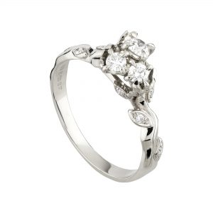 18ct white gold and white diamond Rose and Thorn cluster ring