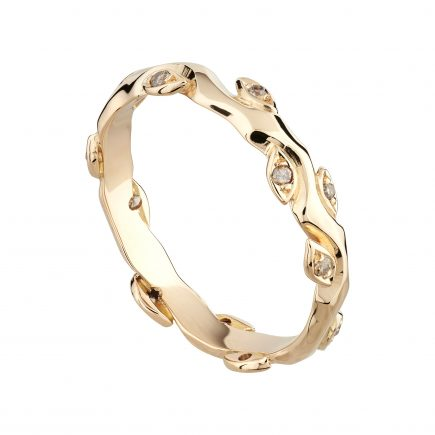 18ct rose gold and champagne diamond Rose and Thorn wedding ring