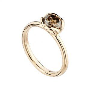 18ct rose gold and 0.86pt cinnamon diamond Coeur ring