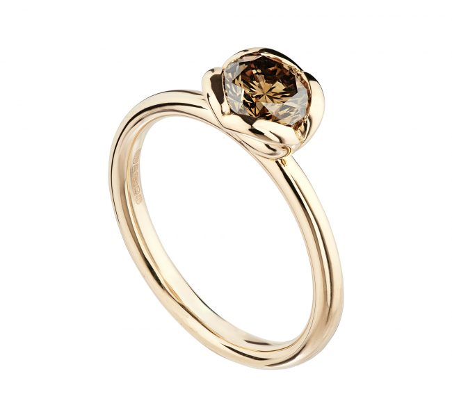 18ct rose gold and 0.86pt cinnamon diamond Coeur ring