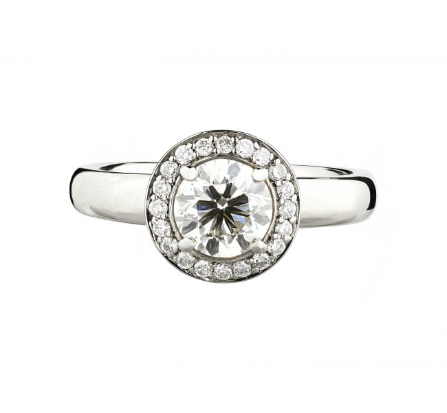 18ct White Gold Concentric Diamond Halo Engagement Ring