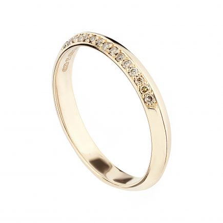 18ct Rose Gold Coco Fine Wedding Band One Third Set With Champagne Diamonds