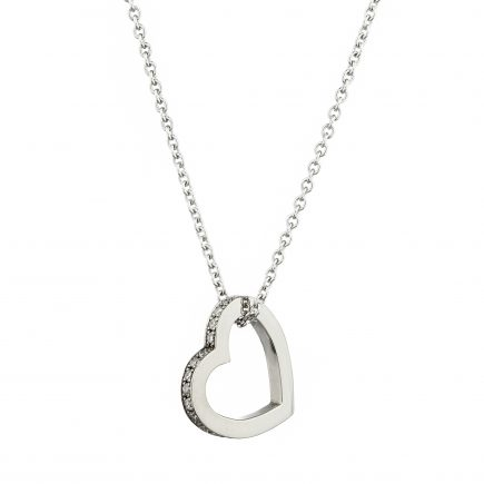 18ct white gold and white diamond-set heart pendant