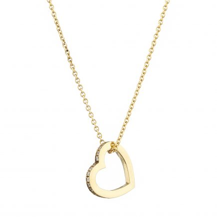 18ct yellow gold and white diamond-set heart pendant