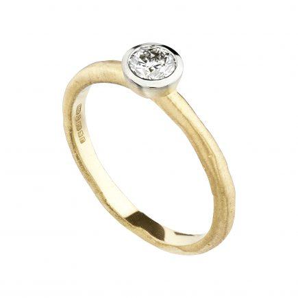 18ct Yellow & White Gold 0.30ct Diamond Molten Engagement Ring