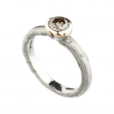 18ct white and rose gold and 0.50pt champagne diamond Molten engagement ring