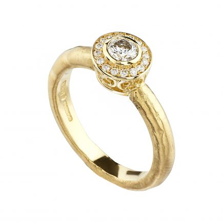 18ct yellow gold and white diamond Molten Halo engagement ring