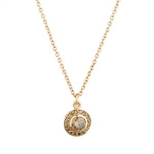 18ct rose gold and champagne diamond Molten filigree halo pendant