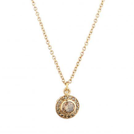 18ct rose gold and champagne diamond Molten filigree halo pendant