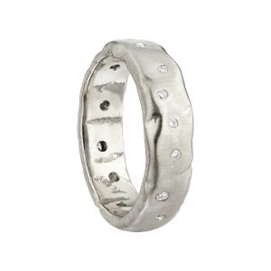 18ct White Gold Wide Molten Ring Scattered With White Diamonds