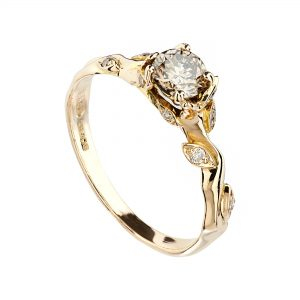 18ct rose gold and champagne diamond Rose and thorn engagement ring