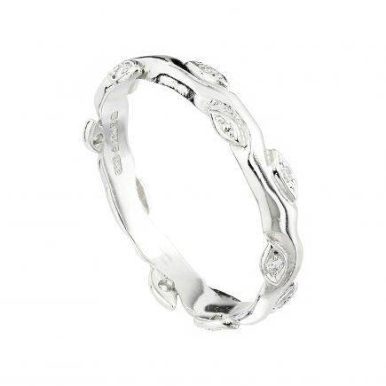Platinum and diamond Rose and Thorn wedding ring