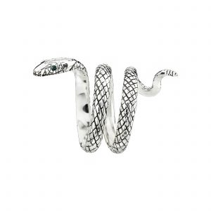 Silver coiled snake ring with ruby-set eyes