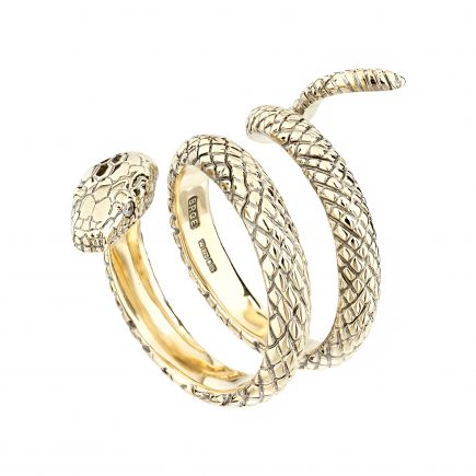 9ct yellow gold snake ring with diamond-set eyes
