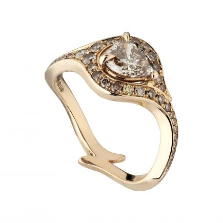 18ct Rose Gold and Pear-Shaped Champagne Diamond Atlantis Ring