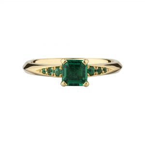 18ct Yellow Gold and Square Emerald-Cut Emerald Coco Engagement Ring