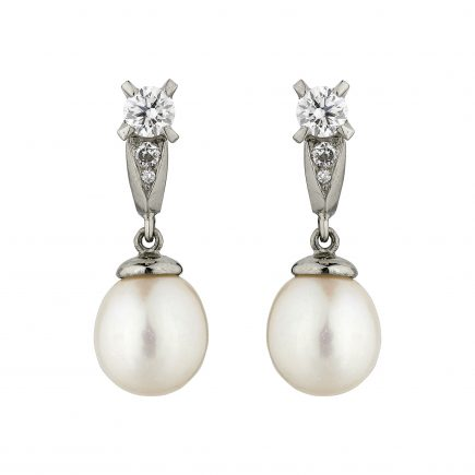 18ct white gold and diamond Coco pearl drops
