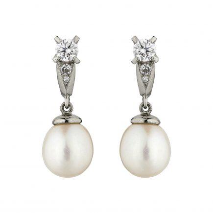 18ct white gold and diamond Coco pearl drops