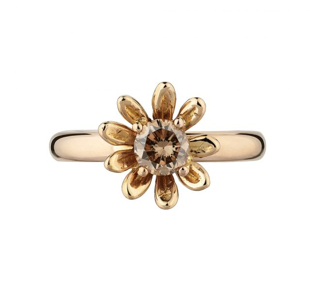 18ct Rose Gold & Champagne Diamond Daisy Engagement Ring