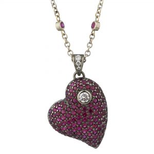 18ct white gold Ruby and diamond large Heart pendant