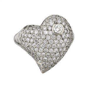 18ct white gold and white diamond large Heart ring
