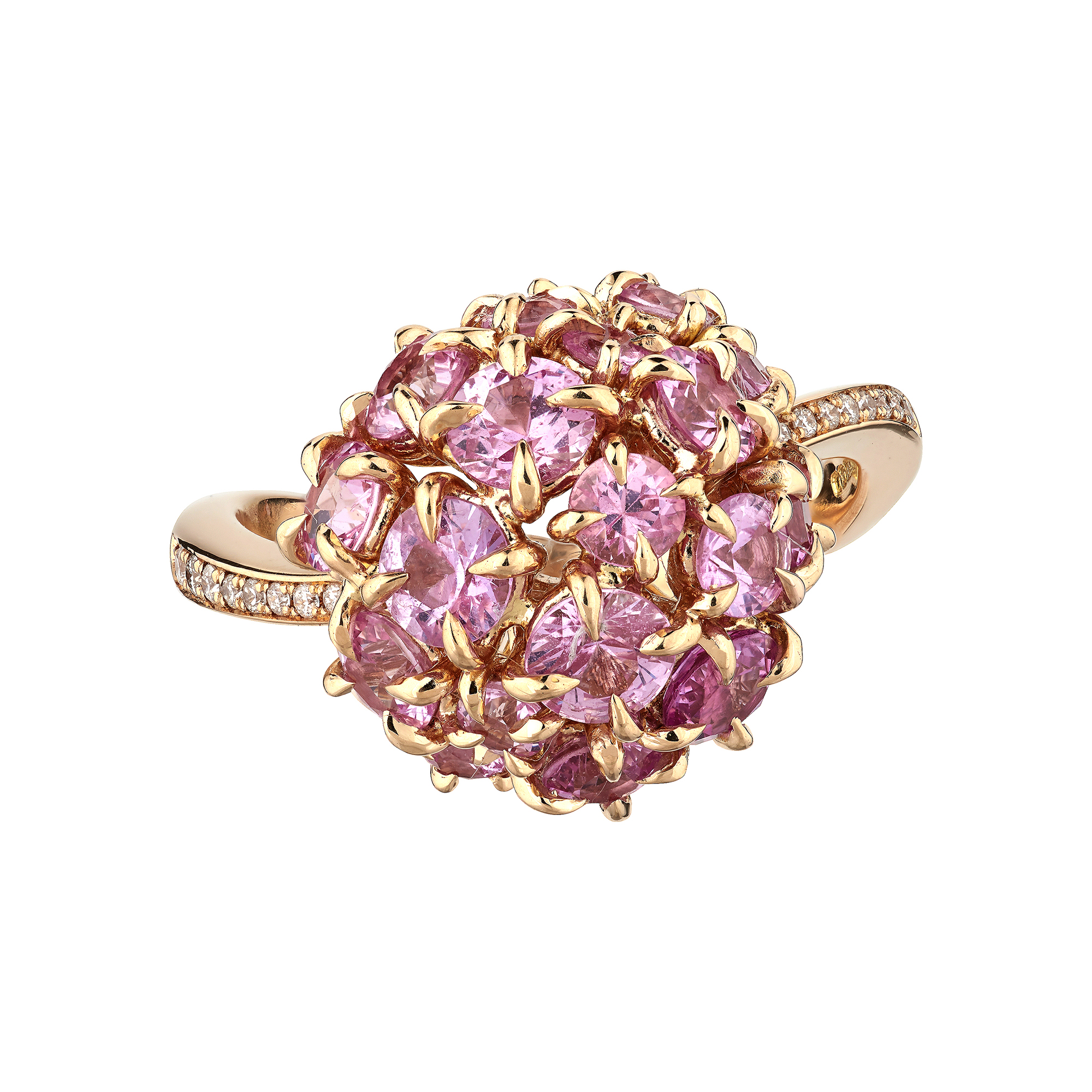 18ct yellow gold pink sapphire cluster ring - Baroque Bespoke Jewellery