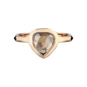 18ct Rose gold Shield-shaped rose-cut cinnamon diamond ring