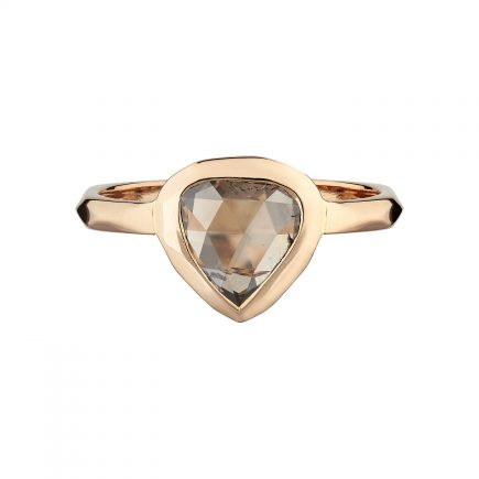 18ct Rose gold Shield-shaped rose-cut cinnamon diamond ring