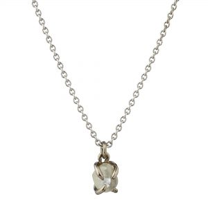 18ct white gold and 0.86ct white rough diamond pendant