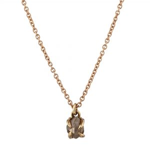 18ct rose gold and brown rough diamond pendant