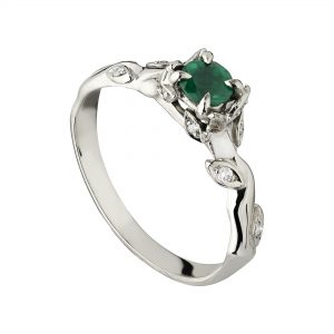 18ct white gold Emerald and diamond Rose and Thorn engagement ring