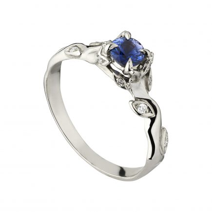 18ct white gold and blue sapphire Rose and thorn engagement
