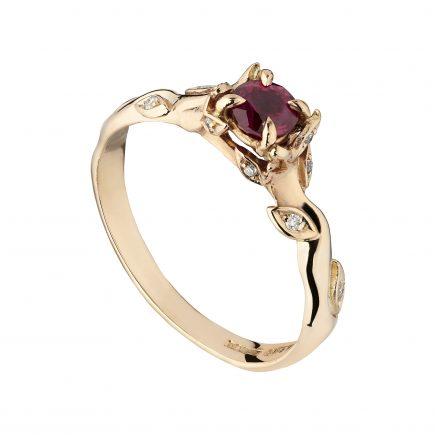 18ct rose gold and Ruby Rose and Thorn engagement ring