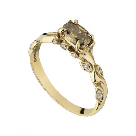 18ct yellow gold Rose and thorn ring with Oval Whisky diamond
