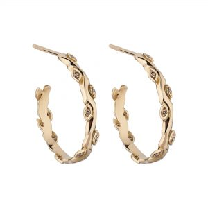 18ct rose gold and champagne diamond Rose and thorn hoops